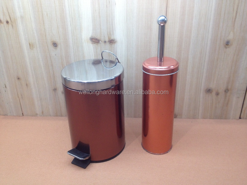 New Metal Pedal Waste Dust Bin Trash Can and Toilet Brush Holder