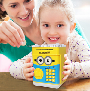 Custom made plastic Money box,custom cartoon ATM Electronic money box coin bank for child