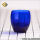 Custom wholesale handmade blue colored glass gold spot decorative glass 400ml glass tumbler cups