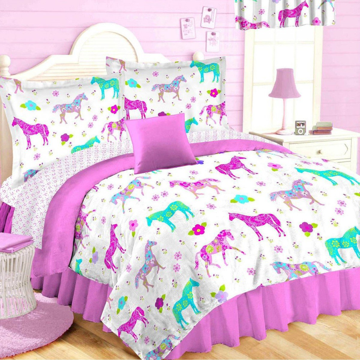 Buy 10pc Full Size Pink Pony Horse Room Ensemble Comforter Sheet Set Toss Pillow And Window Valance Girls Western Bed In A Bag In Cheap Price On Alibaba Com