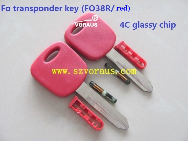 NEW KEYS FORD LINCOLN MERCURY H72 TRANSPONDER CHIP 4C IGNITION KEY,RED COLOR