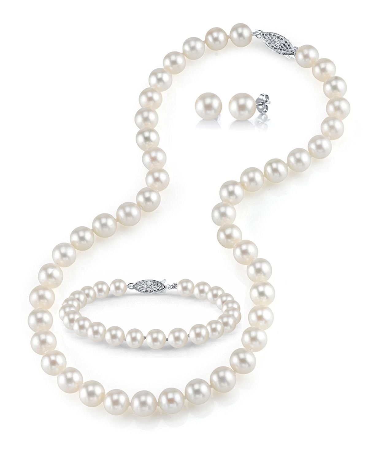 a5dde1a12 Get Quotations · 14K Gold 7-8mm White Freshwater Cultured Pearl Necklace,  Bracelet & Earrings Set,