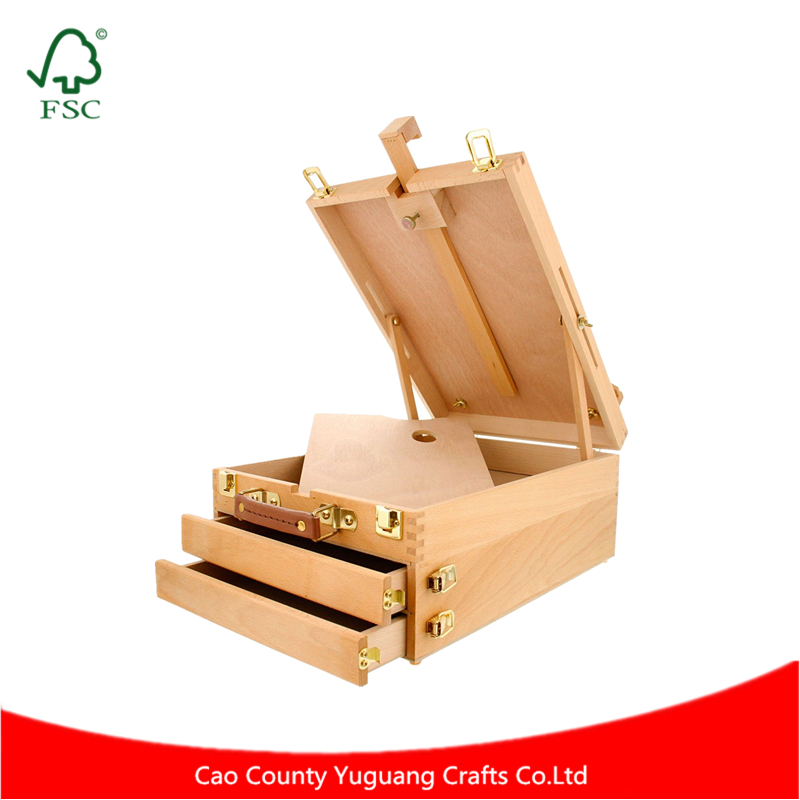 Natural Color Finger Joint 2 Drawer Large Wooden Sketch Box Easel