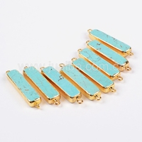 raw flat turquoise stones bar druzy connectos wholesale fashion jewelry