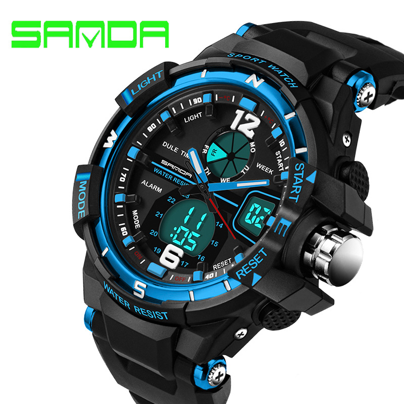 50b485bc317 SANDA Fashion Watch Men G Style Waterproof LED Sports Military Watches Shock  Men s Analog Quartz Digital