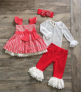 red ruffle clothing sets Polka dot girl winter wears fall boutique outfits