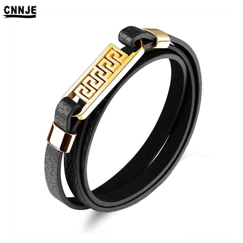 2018 Newest Stainless Steel Gold Plate Great Wall Accessories Wrap Men Leather Bracelet, Gold / silver