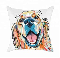 Cute Pet Cotton Polyester Throw Dog Print pillow cover