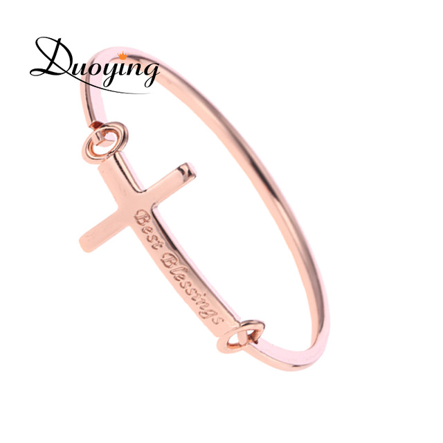 Personalized Name Bangle Rose Gold Plated Stainless Steel Engraved Christian Cross Bangle Bracelet