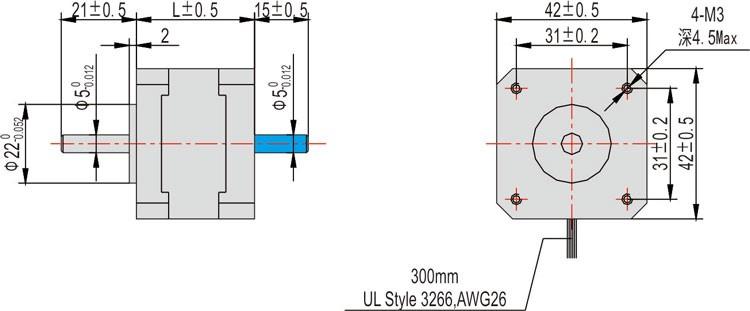 Long Duration For 42mm Hyrbid Stepper Motor Nema 17