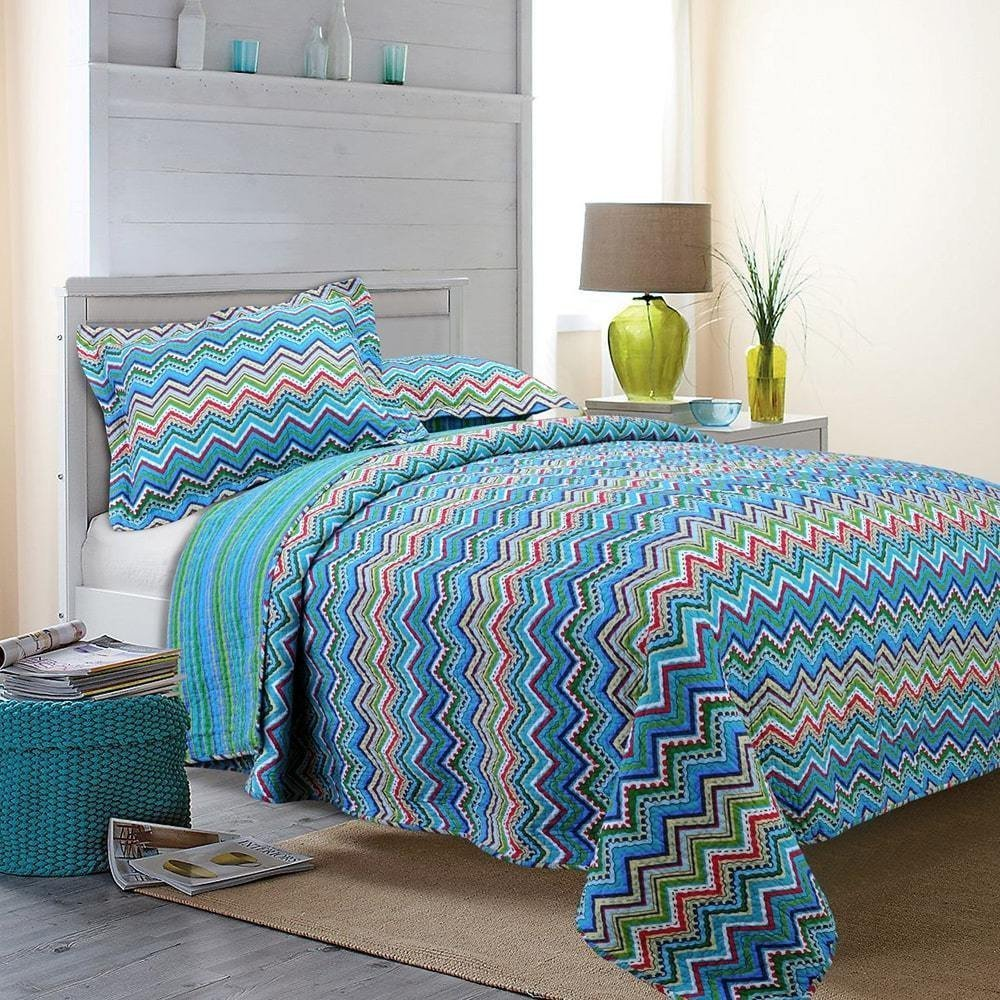 MISC 2pc Blue Pink Green White Twin Quilt Set, Cotton, Rainbow Zig Zag Themed Bedding Vibrant Red Yellow Bright Cheerful Funky Fun Chevron Stripe Pretty Trendy Colorful