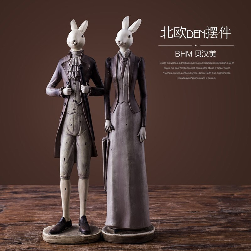 Wholesale nordic articles <strong>resin</strong> male &female gentle deer crafts for home decor