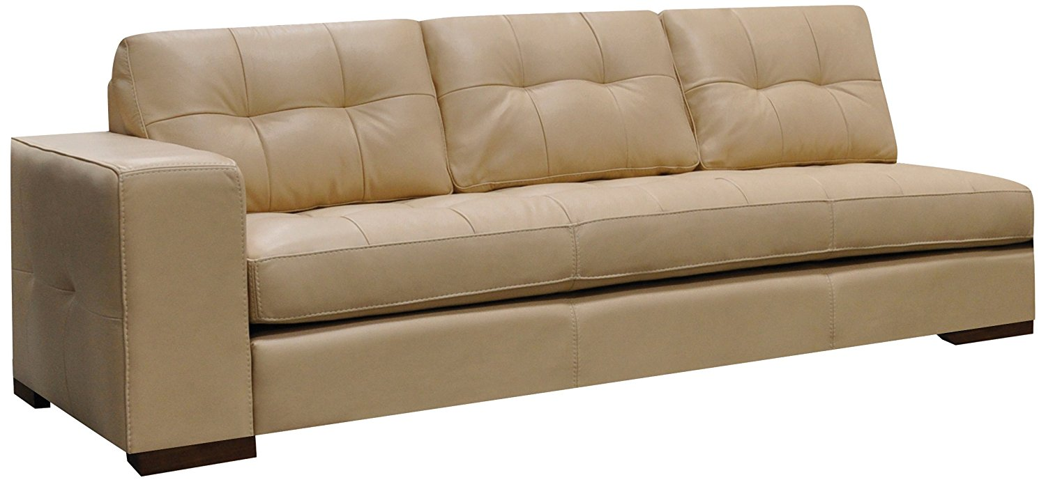 Omnia Leather Peninsula Left Arm 1 Cushion Sofa in Leather, Honey Oak Legs, Softstations White Winter