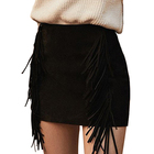 Side Tassel Black Sexy Suede Ladies Clothing Women Short Wrap Skirt