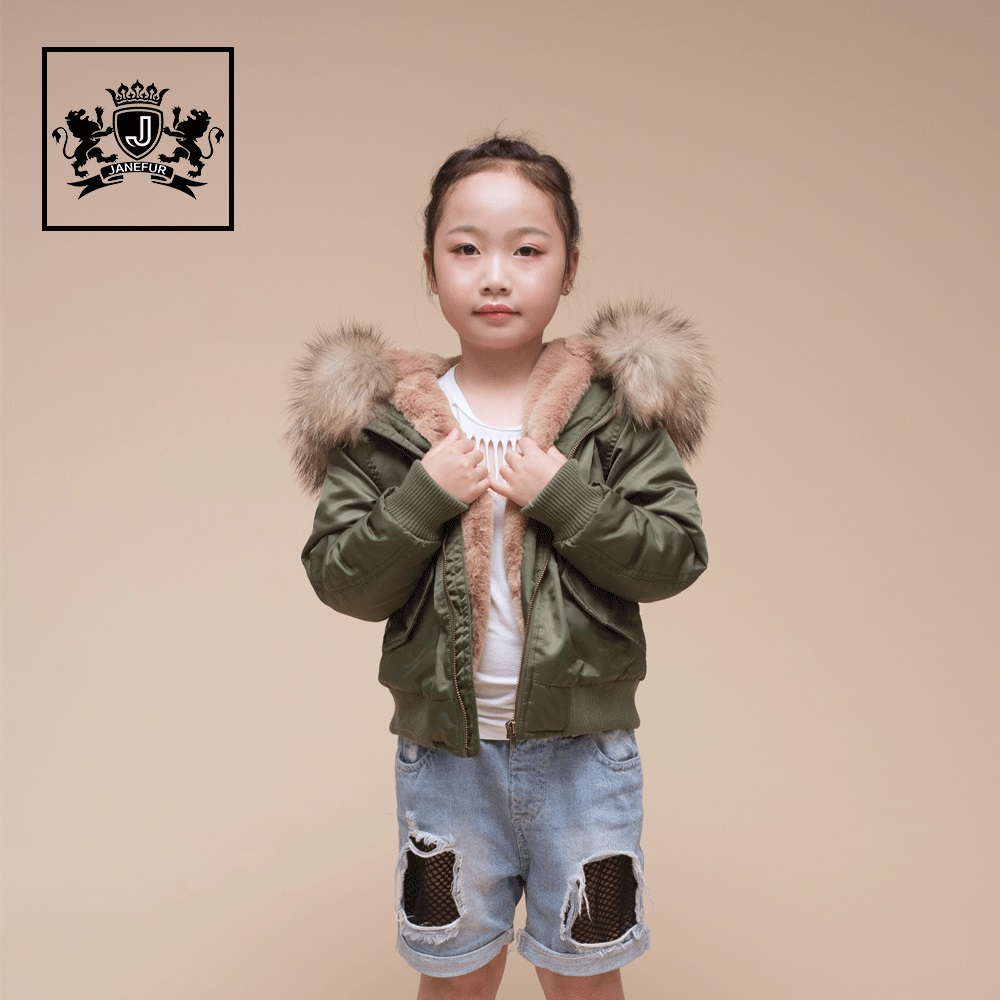 2017 Raccoon Fur Hood Jacket Kids Wholesale Quilted Bomber Jackets For Women