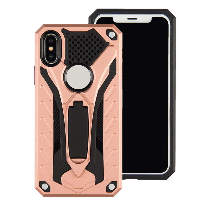 HAISSKY Free shipping 2 in 1 Hard shockproof  mobile phone back cover Kickstand Robot Armor Case for iphone