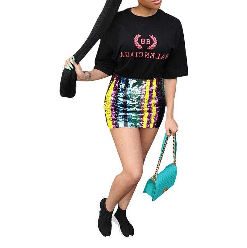 81212-MX39 plus size sequin women mini skirts sexy club dress фото