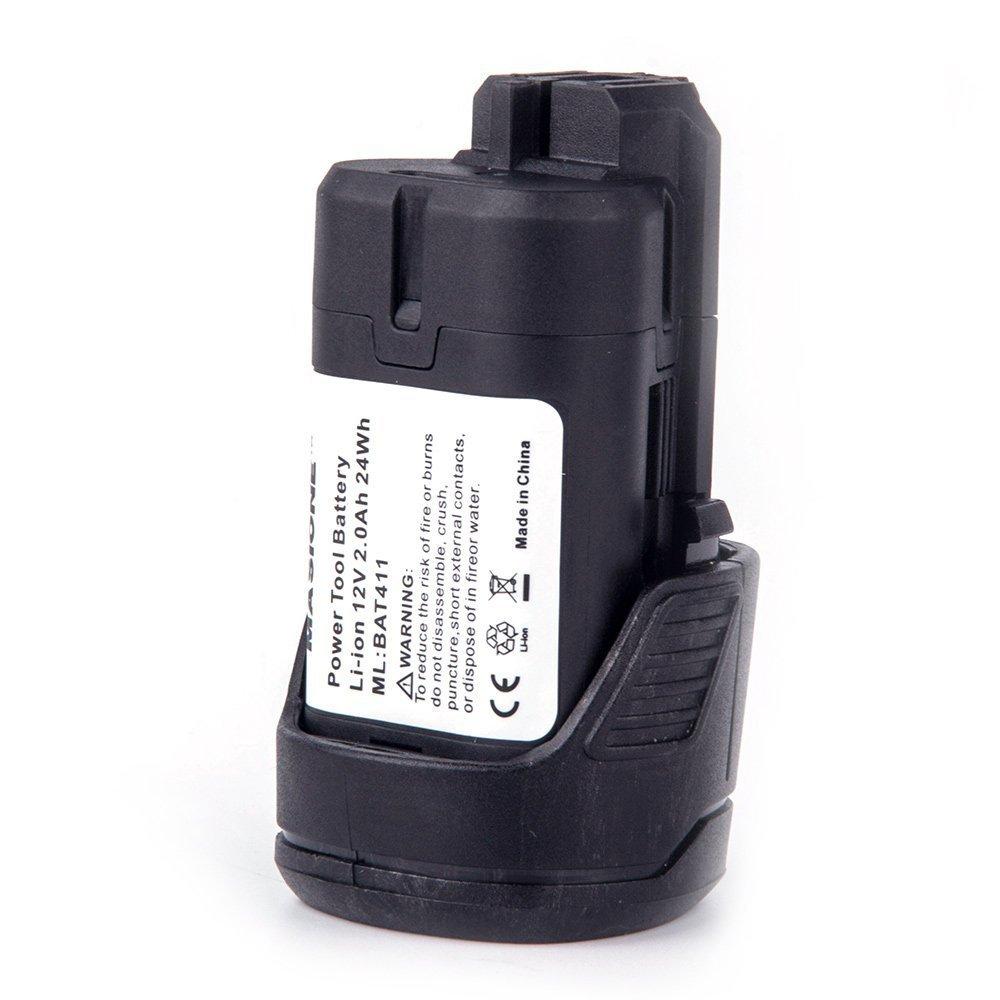 Masione 2000mah 12V Max Li-ion Battery For Bosch 10.8V 12 Volt BAT411 Power Tool PS10 PS30 PS31 PS40 PS70 Flashlight