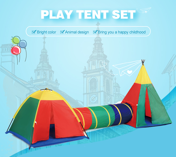 Steel Wire Kids Play House Pop Up Tent With Crawl Tunnel