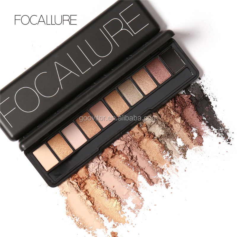 Focallure 10 Colors Glitter Eyeshadow Palette Makeup Brush Cosmetic For <strong>Eyes</strong>