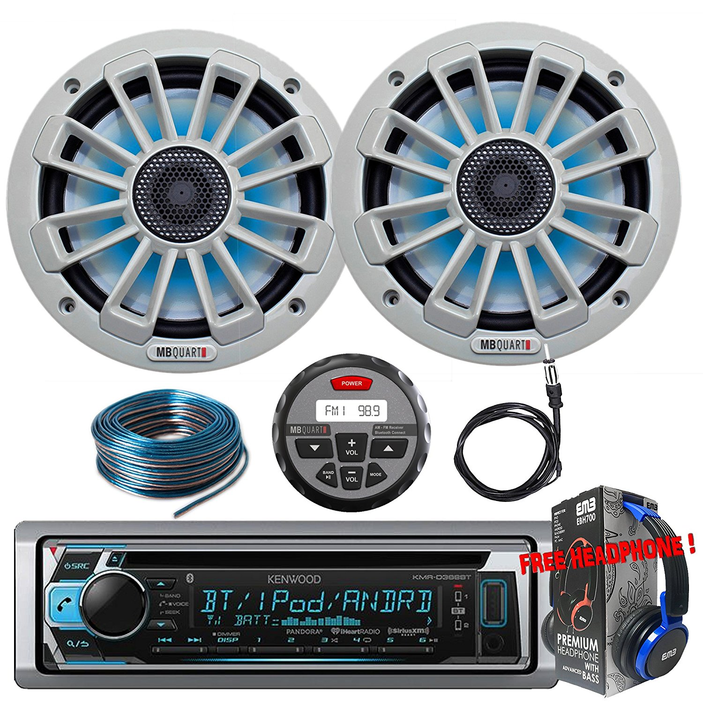 "Package Kenwwod KMR-D365BT Bluetooth Marine CD Receiver + 1 Pair MB Quart NK1-116L Nautic 6.5"" 2-Way Speaker + GMR-1 + Antenna + 100FT Installation Wire + Free EMB Headphone For ATV UTV Boat Yatch"