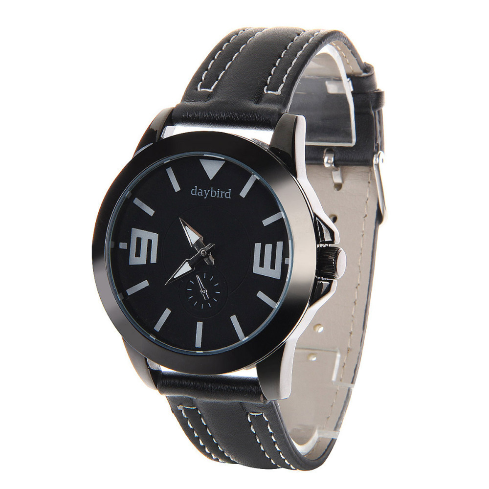 fashion 2015 Top Brand Daybird watch Waterproof men Wrist Watch Luxury Daybird Men's auto clock Fashionable Quartz PU black