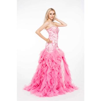 Pink Sequins Floor Length Los Angeles Big Bust Satin Evening Dresses