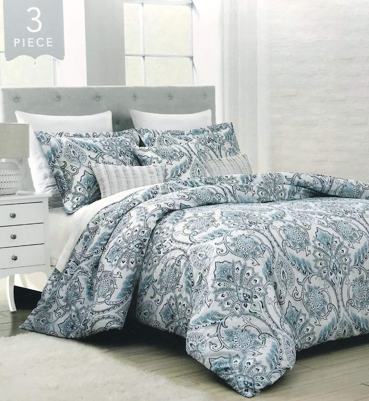 ENVOGUE Majestic Paisley Damask Duvet Cover 3pc Set Boho Chic Bohemian Damask Medallion (Peacock Blue, Queen)