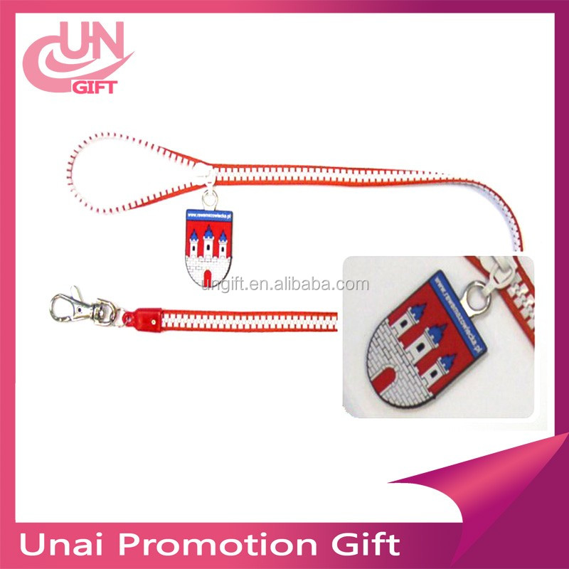 Customized Zipper Neck Lanyard With Hook And Phone Stap