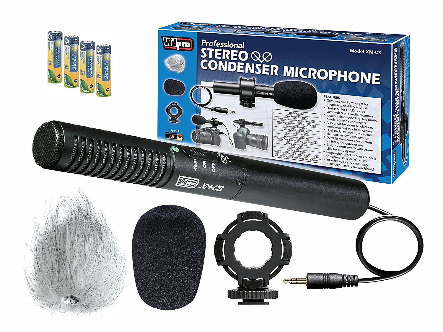 Sony HDR-SR1 Camcorder External Microphone Vidpro XM-CS Condenser Stereo XY Microphone Kit for DSLR's, video camcorders and audio recorders - With a Pack of 4 AA NiMH Rechargable Batteries - 2800mAh