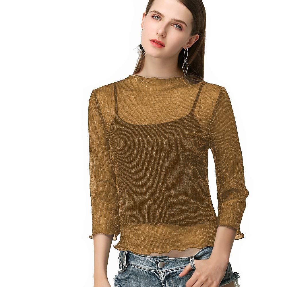d8c5a909eb4 Get Quotations · Beauty Garden Womens Henley Sexy Clubwear Lurex See  Through Tops Shirts Blouse