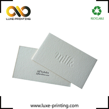 Milk color cotton paper debossed custom logo letterpress printing business card