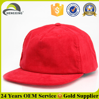 Red Unstructured Corduroy Blank Snapback Hats Wholesale