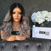 Expensive 8A 100 virgin human hair full lace grey wig 3 tone color hidden knots