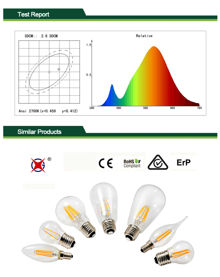 Factory price led filament bulb light e27 globe G125 6W IC driver warm lighting