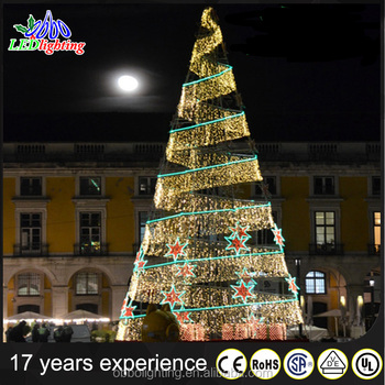 free large outdoor waterproof led spiral party decoration yellow christmas tree with star motif light for square with spiral christmas tree - Large Christmas Tree