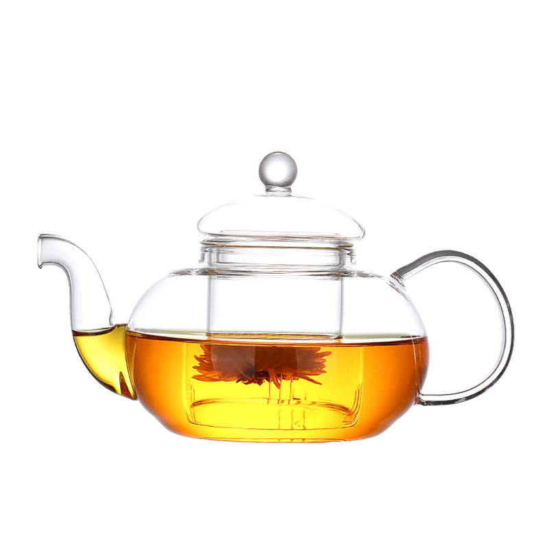 Handmade Clear glass heat resistant glass tea pot set, glass pot and cup