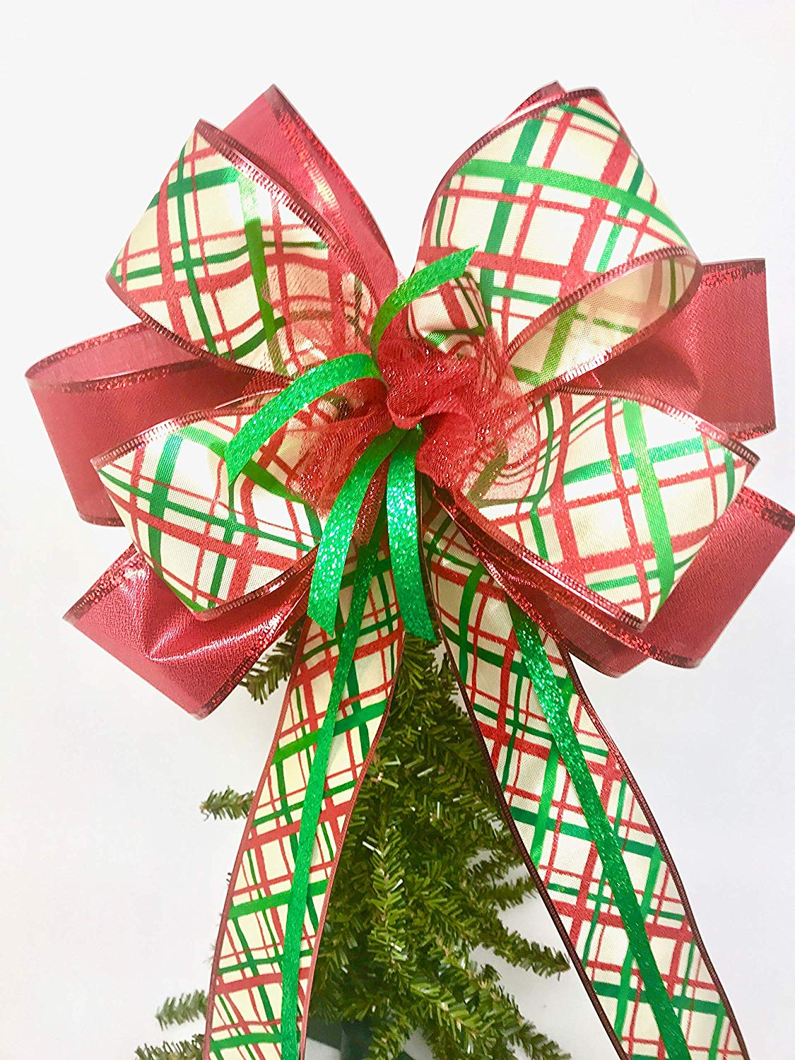 Wreath Bow, Red Green Gold Tree Topper, Large Gift Bow, Wreath Bows, Holiday Bow, Home Decor, Christmas Bows, Swag Bow,- Handmade Bow