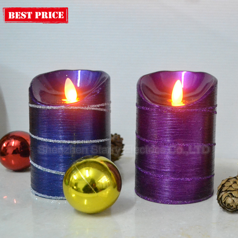battery operated moving wick glitter led candle light