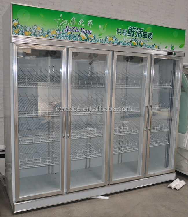 Four doors supermarket drink display refrigerator showcase
