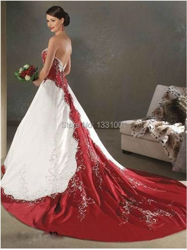 5958b5598d Wedding Special  red white bridal gowns