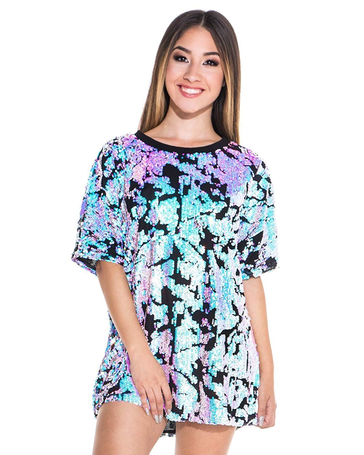 Get Quotations · iHeartRaves Women s Enchanted Iridescent Sky Sequin Loose  Short Sleeve Tee Shirt a857fb872386