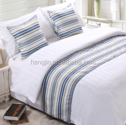New design hotel bed runner, plain dyed satin bedding set, star hotel bedding sheet