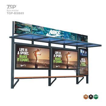 Modern Bus Stop Shelter with advertising light boxes