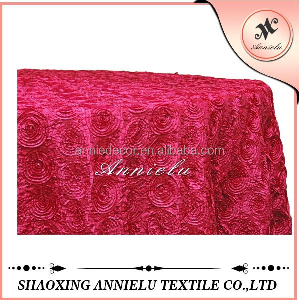 Fancy fuchsia rosette taffeta elegant wedding tablecloths