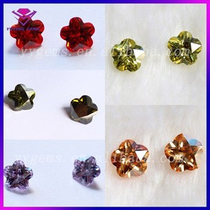Machine Cut Various Color Flower Shape Synthetic Loose Gems CZ for Jewelry