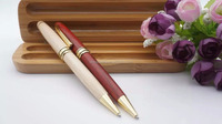 hot sales pen set wooden ball point pen with metal part set packing in wooden box for promotional