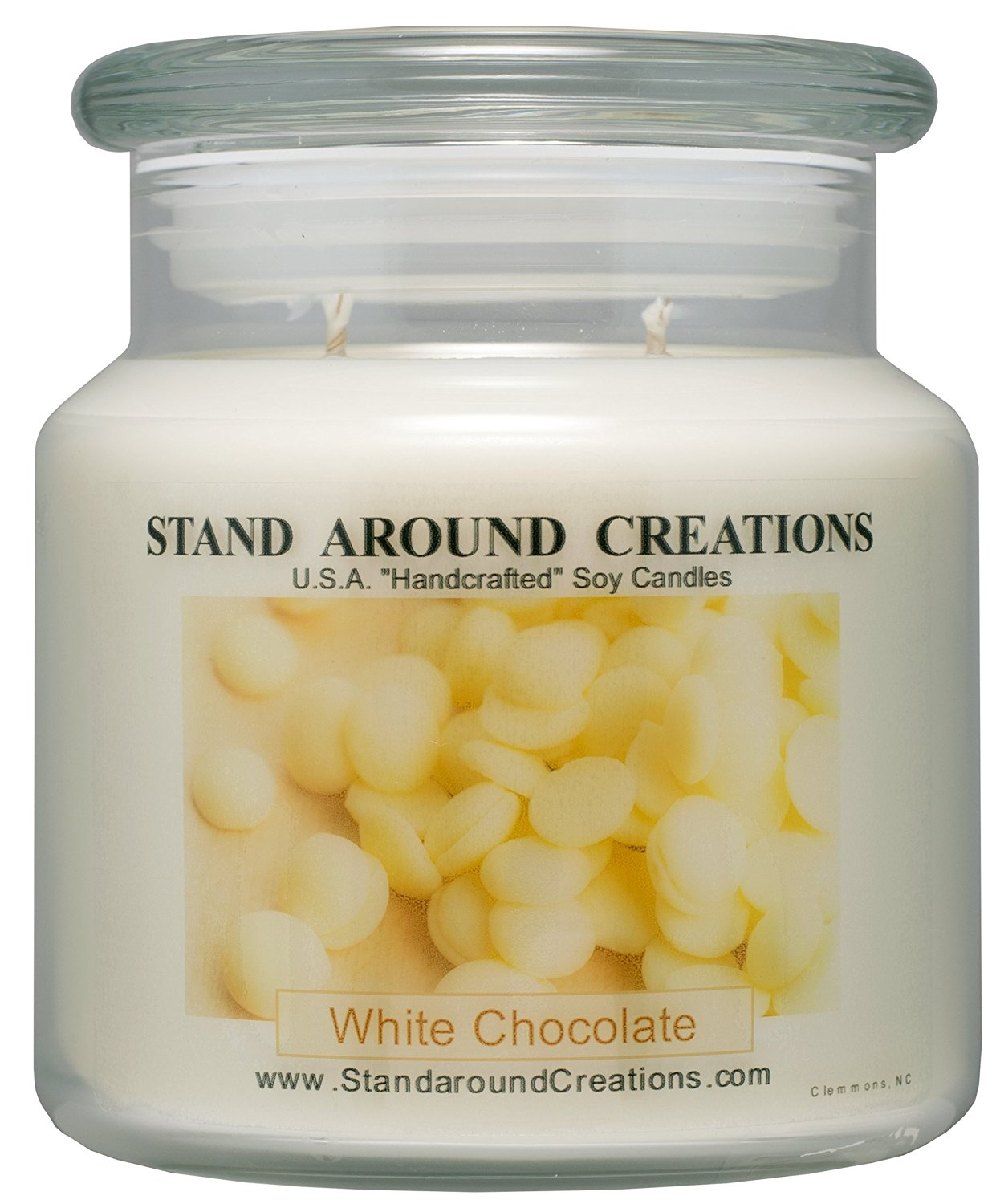 Premium 100% Soy Apothecary Candle - 16 oz.- White Chocolate - The aroma of creamy cocoa butter, marshmallow, white chocolate, and vanilla beans.