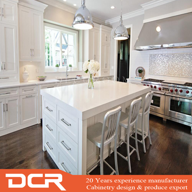 Factory Directly Customized European Shaker Door Off White Kitchen Island Cabinet