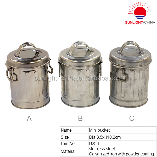 Small Size Metal Garbage Can Trash Can Recycle Bin Waste Bin with Lid